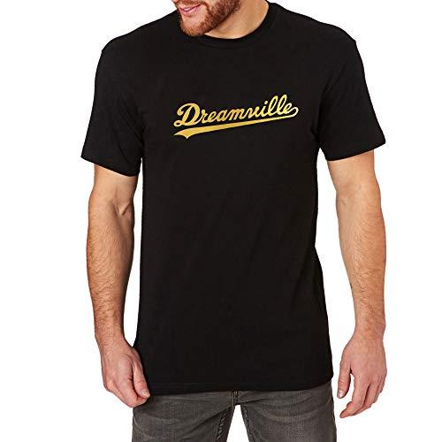 Loo Show Mens Dreamville Records Music Fans Foil Print Casual T-Shirts Men Tee (Black/Gold,M)