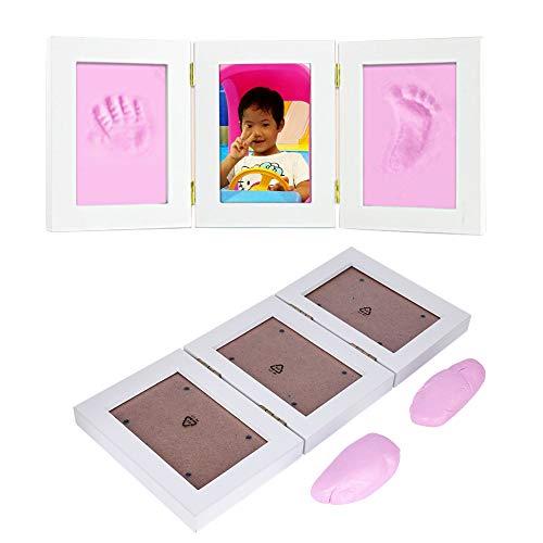 Hztyyier Conjunto de Marco de Fotos para bebés, Kit de Marco de Fotos para Huellas y Huellas de bebés recién Nacidos para Regalo de Almohadilla de Tinta de Tacto Limpio para bebés(Rosado)