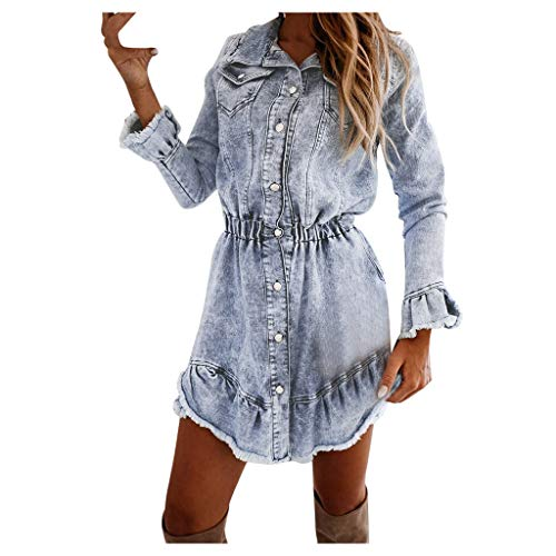FRAUIT Damen Denim Kleid Jeanskleid Party Kleider für Damen Langarm Swing Dress Lange Denim Mantel Jeansjack Lose Minikleid Denim Jeans Kleider Vintage Schickes Swing Dress