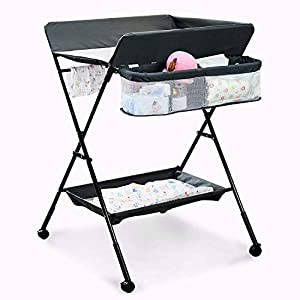 Portable Baby Changing Table, Adjustable Height Mobile Baby Diaper Station with Safety Belt, Lockable Wheels, Folding Infant Newborn Change Table