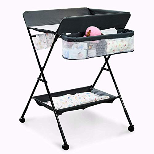 Mobile Baby Changing Table, Adjustable Height Folding Portable Diaper Station Nursery Organizer with Safety Belt, Lockable Wheels, Portable Infant Newborn Change Table (Black)