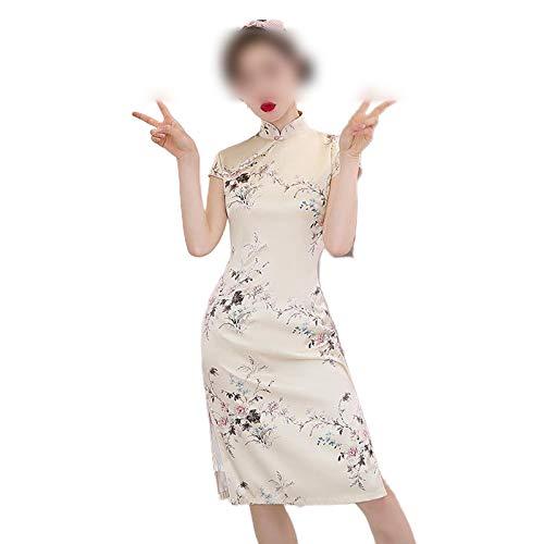 Qipao Primavera y Verano Nueva Señora Cheongsam Satén Sexy Alta División Rosa Vestido Chino Impresión Flor Manga Corta Vintage Vestidso