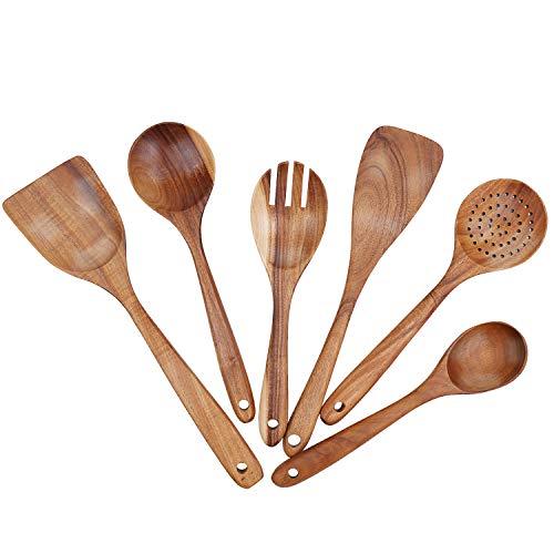 Freehawk, set di utensili da cucina in legno, set di cucchiai da cucina in legno, forchetta, colino, spatola wok in legno, spatola in legno di teak, mestolo, cucchiaio da portata, set di 6