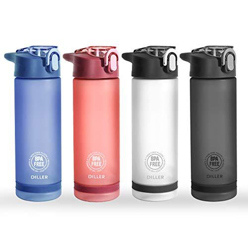 Diller Trinkflasche Sport Wasserflasche Flasche BPA Frei Gym 850ml 550ml Auslaufsicher De24 (850ml, Rosa)
