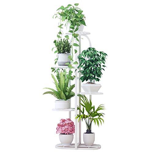 Dittzz Soporte para Plantas, 5 Niveles Escalera para Flores de Metal Estantería para Macetas Decorativa para Exterior Interior Jardín Balcón Corredor, 96 x 22 x 45cm