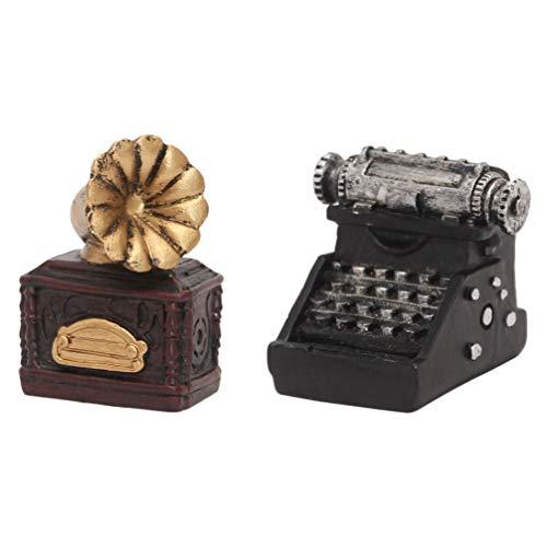 Yardwe 2 adornos retro para máquina de escribir, pequeños adornos para el hogar, oficina, escritorio