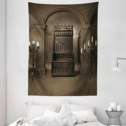 Ambesonne Gothic Tapestry, Royal in Medieval Castle Renaissance Kingdom Heritage Retro Antique Photo, Wall Hanging for Bedroom Living Room Dorm, 60' X 80', Brown Beige