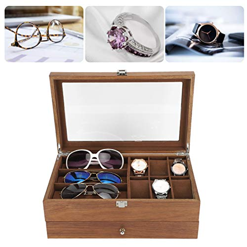 Vitrina de reloj, caja de almacenamiento de reloj de madera maciza, doble capa que no se deforma para gafas, relojes