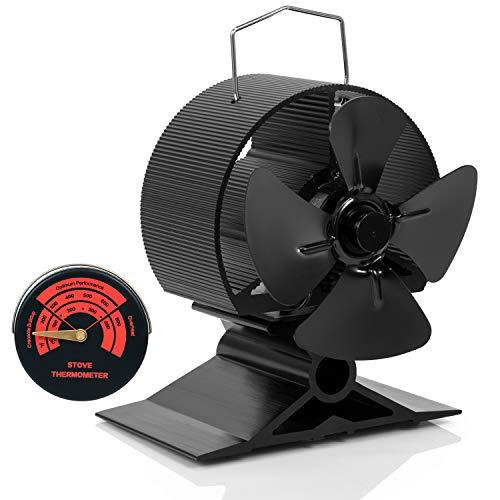 ミニサイズ 新しいバージョン薪ストーブ用ストーブファン 暖炉の小さなスペース専用 4枚羽のエコストーブフ...
