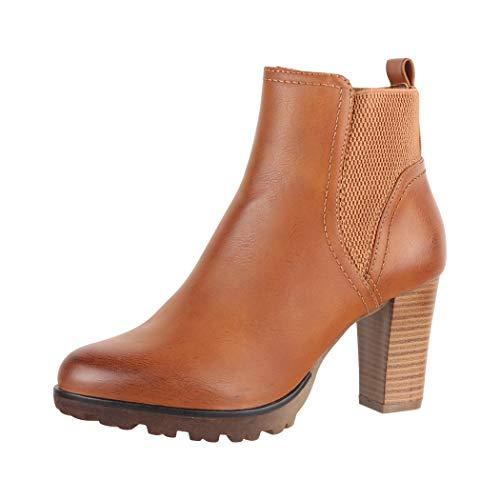 Elara Damen Stiefelette Ankle Boots Chunkyrayan Neu-949-GA Camel-41