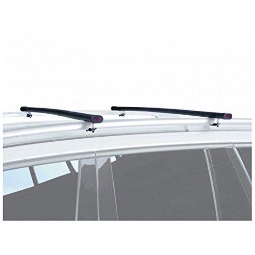 G3 61.122 stalen dakdrager met open dakrails, 122 cm, uniseks, volwassenen, zwart, geschikt voor alle auto's met open dakrails