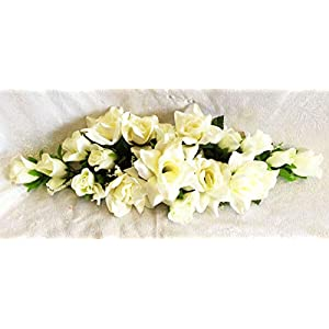 Floral Décor Supplies for Swag Silk Roses Artificial Flowers Fake Wedding Arch Table Runner Centerpiece for DIY Flower Arrangement Decorations – Color is Cream/Ivory