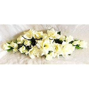 Floral Décor Supplies for Ivory Cream Rose Swag Artificial Silk Wedding Flowers Arch Table Centerpiece Fak for DIY Flower Arrangement Decorations
