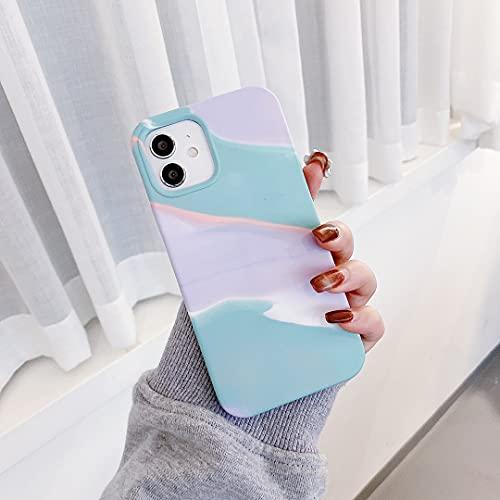 EYZUTAK Aquarell Morandi Hülle für iPhone 7 iPhone 8 iPhone se 2020, Weiche Silikon TPU Handyhülle Superdünne Schutzhülle Farbanpassung Handyhülle-Lila Blau