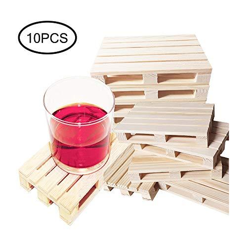 10 palets de madera pequeña bandeja sólido miniatura Coasters rectangular Trivet Todos los fines Coaster Ministerio del Interior for los vidrios de vino Botellas de cerveza Vidrios de la ensalada