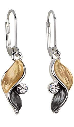 Perlkönig | Damen Frauen | Ohrringe Set | Ear Cuffs | Schwarz Gold Farben | Flügel geschwungen| Glitzer Stein | Stecker | Nickelabgabefrei …