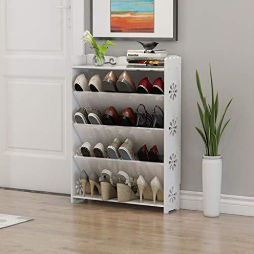 XBDD Zapatero moderno, 4 niveles, color blanco, hueco para zapatos, armario barroco, organizador de almacenamiento