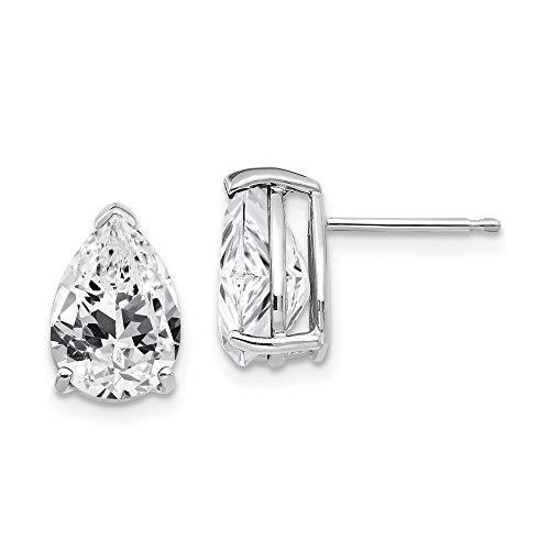 14k White Gold Cubic Zirconia Pear Stud Earrings