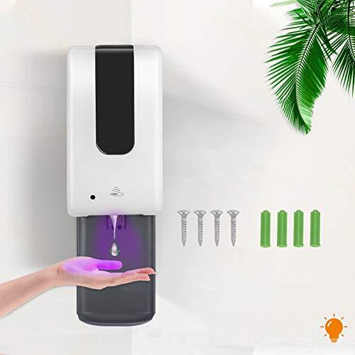 TTLIFE Hände Desinfektionsspender Wandmontage Mit Tropfschale 1200ML Automatisch Sensor Seifenspender Wand, Flüssigkeit, Händedesinfektion Gel,Häufiges Händewaschen zum Schutz der Gesundheit(S)