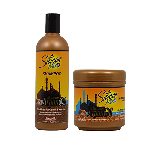 Silicon Mix Moroccan Argan Oil Shampoo + Hair Treatment 16oz Set by Silicon Mix