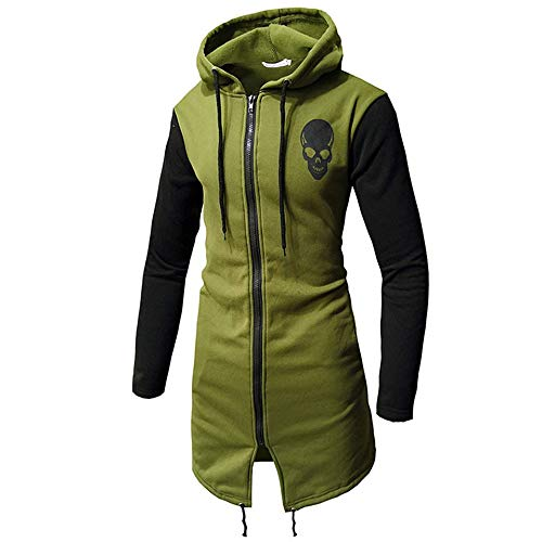 WUAI-Men Trench Coat with Hood Winter Lightweight Zipper Long Jacket Overcoat Cardigans(Army Green,Medium)