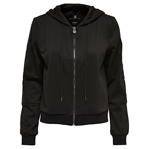 ONLY Damen Jacke Onlrobin L/S Hood Bomber Jacket Swt, Schwarz (Black Black), 38 (Herstellergröße: M)