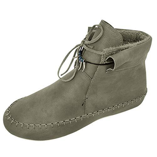 Anliyou Stiefeletten Damen warm Winterboots flach Stiefel mit rutschfest edel elegant Vintage Retro Ankle Boots Schnürstiefel Winterstiefel Freizeit Urlaub Karriert