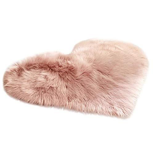 Super Soft Faux Sheepskin Area Rugs for Bedroom Floor Shaggy Plush Carpet Living Room Rug Faux Fur Shaggy Floor Mats for Living Room Hallway Bedroom Home Nursery (30 x 40 cm, Pink)