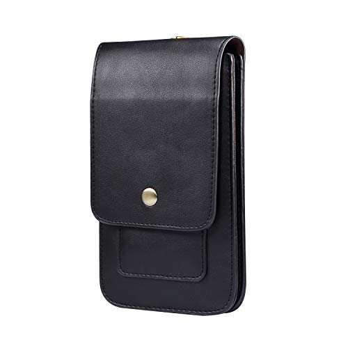 MeganStore - Bolso para teléfono móvil, pequeño para hombre, funda portátil universal, cartera, tarjeta de crédito, color negro