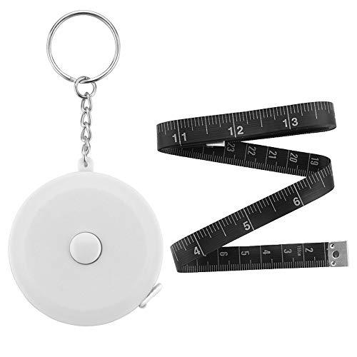 Edtape 白いキーホルダー 巻尺 ワンタッチ 巻取りボタン 自動巻きとり 軽量 薄型 コンパクト クラフト メジャー 巻き尺 ロールメジャー ポータブル テープ 定規 尺 両面目盛 150cm/60inch ロータリーメジャー オートメジャー 裁縫 手