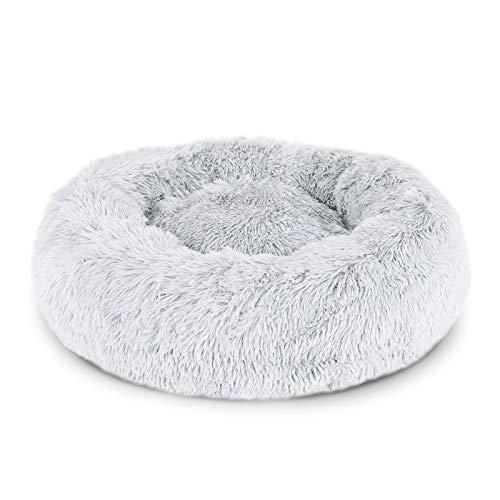 lionto by dibea Cama perros redonda cojín gatos sofá para perros donut (3XL) Ø 100 cm Gris claro