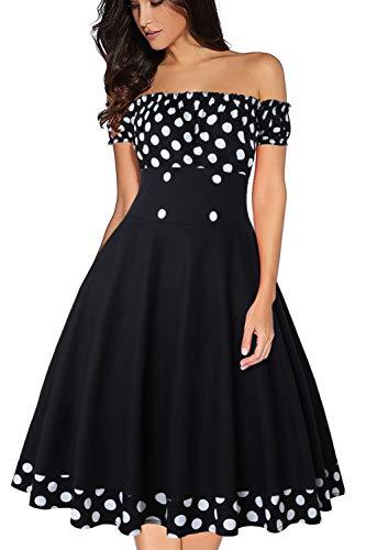 Axoe Damen 50er Jahre Kleid Schulterfrei Cocktailkleid mit Polka Dots Knielang Schwarz Gr.42