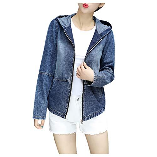 Xmiral Mantel Damen Denim Kapuzenjacke Zurück Stickerei Reißverschluss Jacke Jeansjacke mit Kapuze Slim Fit Strickjacke mit Taschen(Blau,M)