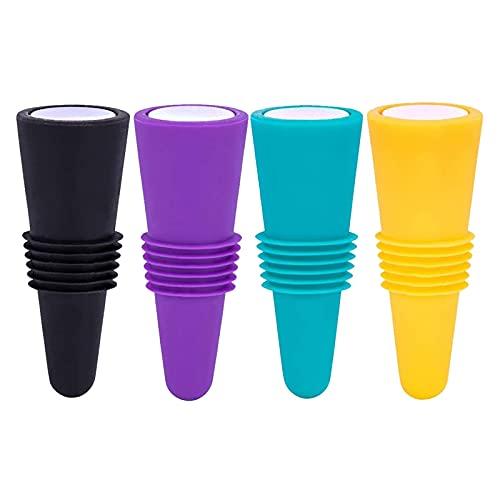 DOTTAVR 4/8 tapones para botellas de vino de silicona de colores + acero inoxidable, tapón para botellas de vino, tapón reutilizable (4 unidades)