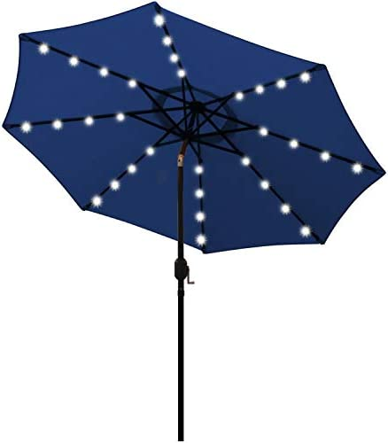 Blissun 9 ft Solar Umbrella 32 LED Lighted Patio Umbrella Table Market Umbrella with Tilt and product image