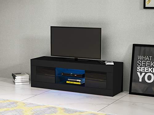 LED Meuble TV en Verre, 2 Portes sur Salle de Séjour, Salon et Chambre à Coucher, 125 x 35 x 40 cm, Noir