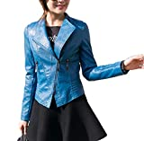 Classic Pink Chaquetas para De Cuero PU Mujer Otoño Blazers Chaqueta con Cremallera Cazadoras De Cortos Azul XL