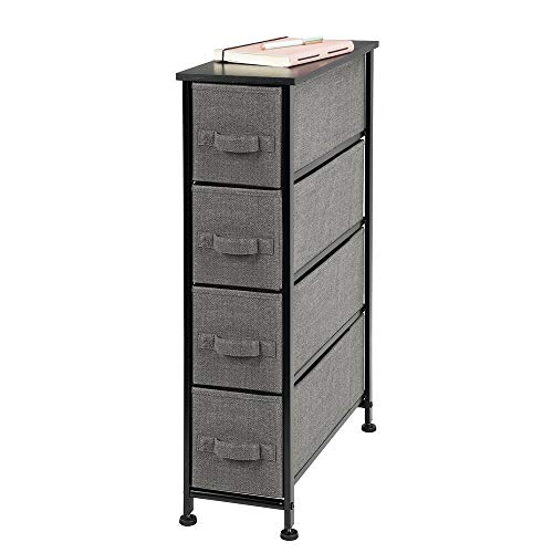 mDesign Narrow Vertical Dresser Storage Tower - Sturdy Metal Frame, Wood Top, Easy Pull Fabric Bins - Organizer Unit for Bedroom, Hallway, Entryway, Closet - Textured Print, 4 Drawers - Charcoal Gray