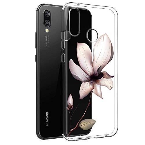 Cover Huawei P Smart Plus, Eouine Custodia Cover Silicone Trasparente con Fiore Animali Disegni Ultra Slim TPU Morbido Antiurto 3D Cartoon Bumper Case per Huawei P Smart Plus 2018 Smartphone (Loto)