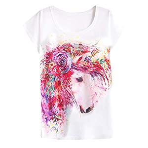 futurino Women's Dream Mysterious Horse Print Short Sleeve Tops Casual Tee Shirt