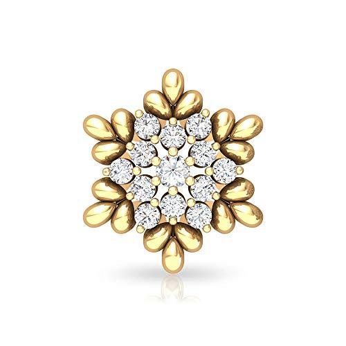 Pendiente de flor vintage, certificado SGL 0,42 ct de diamante, único cartílago, caracola de hélice, joyería del cuerpo, Oro amarillo Espalda plana, Única pieza 7.5mm