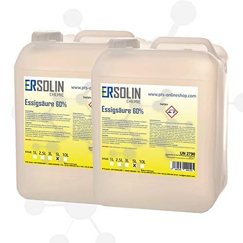 ERSOLIN 10 Liter (2 x 5 L) Essigsäure 60% | Entkalker | Essig | Reiniger | technisch