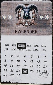 Wandkalender Kalender Metall Alpenstil Alpenliebe, Motiv:Alpenliebe