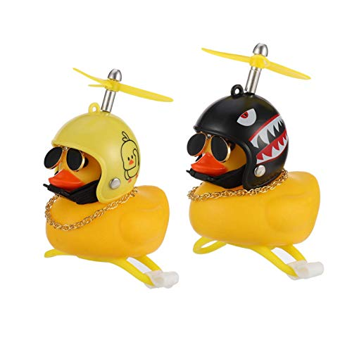 Canghai 2Pcs Rubber Duck Bike Decorations, Yellow Duck Squeeze Horn, Motorcycle Bicycle Bell Accessories for Children Teens and Adults