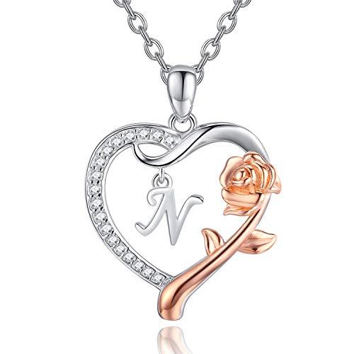 Initial halsband sterling silver alfabet roseflower hjärta bokstav hänge halsband personliga smycken brev halsband present för kvinnor flickor e sterlingsilver, cod. Z-NAME