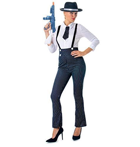 Damen Gangster Kostüm 1920er Mobster Kostüm Nadelstreifen Anzug Outfit Maulwurf mittel