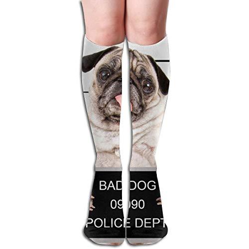 Ccsoixu Dog Pug Humor Police Funny 50 Full Comfort Knee High Socks Cotton Long Knee High Socks