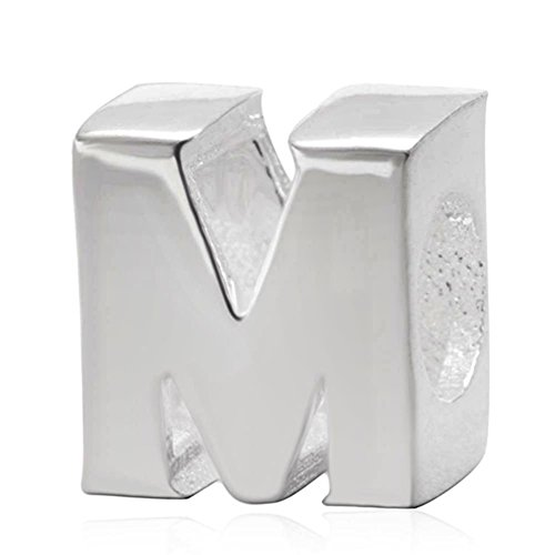 Andante-Stones 925 Sterling Silber Bead Charm Alphabet M Element Kugel für European Beads + Organzasäckchen