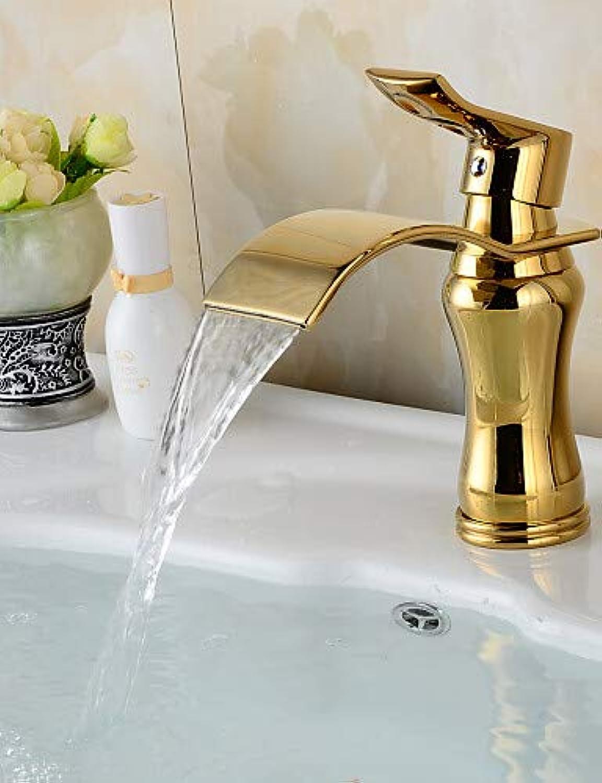 Mainstream home LPZSQ Tippen Sie auf zeitgenssische Wasserfall Messing Ti-PVD Waschbecken Wasserhahn - Golden  792
