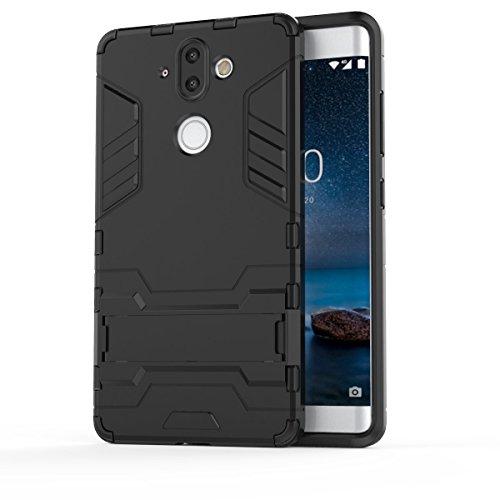 TenYll Nokia 8 Sirocco Hülle, Doppelschicht-Design Stoßfest Hybrid Robuste TPU+PC Schutzhülle Mit Standfunktion,Hülle für Nokia 8 Sirocco -Schwarz